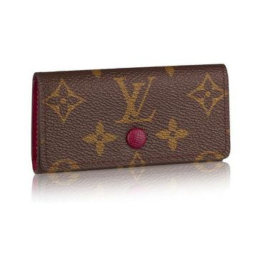 ONETOW Louis Vuitton Monogram Canvas 4 Key Holder Wallets M60705 Made in France