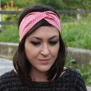 Flower Headwrap, Womens Headband Turban, diadems, vintage turban, polka dots turban, casual turban,red turban headband