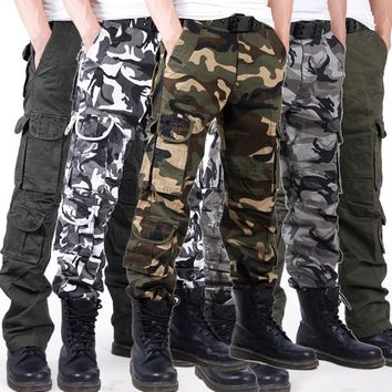Casual Loose Pockets Zipper Men Cotton Soft Camouflage Cargo Pants Full Length Work wear Military Overalls Clothing