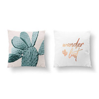 SET of 2 Pillows, Cactus Mint Pink, Teenage Art, Gold Pillow, Wanderlust Pillow, Bed Pillow, Cactus Decor, Throw Pillow, Cushion Cover