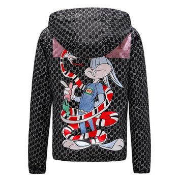 GUCCI 2018 autumn and winter new trend trend coral snake rabbit starling classic plaid hooded jacket