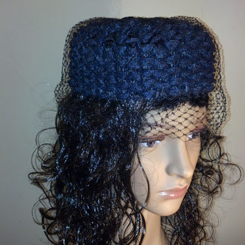 Navy Pillbox Hat in Woven Raffia with Veil  Elegantly Simple for Summer Adorable - Church, Tea Party, Ladies Who Lunch