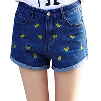 2019 denim jeans shorts Women's Short Jeans Banana Embroidery Denim Shorts Casual Jeans Shorts Plus Size Denim Pantalones Cortos