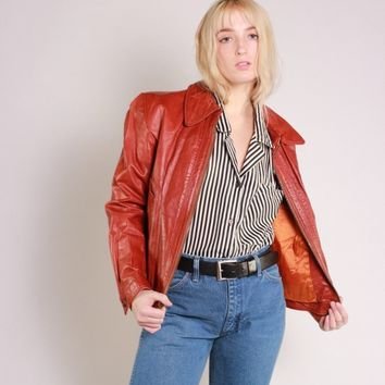 Rust Orange Leather Jacket / M L