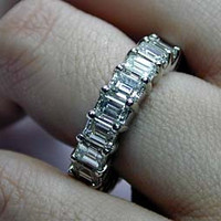 6.92ct Emerald cut Diamond ETERNITY Wedding Ring 18kt White Gold JEWELFORME BLUE