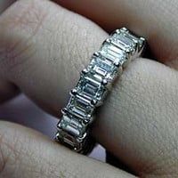 10.10ct Emerald cut Diamond ETERNITY Wedding Ring 18kt W/G JEWELFORME BLUE