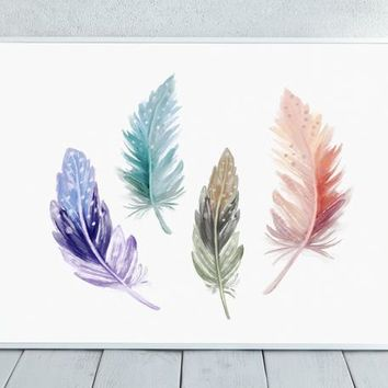 Watercolor Feathers, Painted Feathers, Colorful Feathers, Native American, Boho, Hippie, Feather Art, Nursery Decor, Wall Art, Home Decor