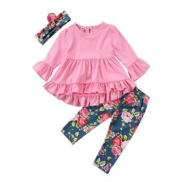 Newborn Infant Baby Girl Floral Flower Lace Falbala Top +Floral Pants +Headband Pants Outfits