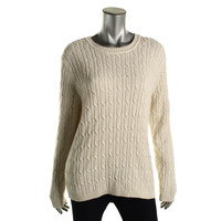 Karen Scott Womens Metallic Long Sleeves Pullover Sweater