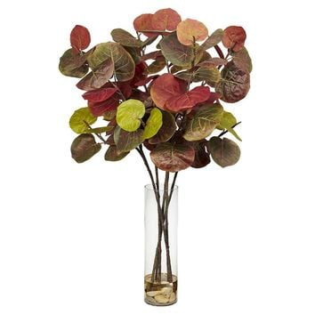 Silk Flowers -Giant Sea Grape Leaf With Cylinder Artificial Plant