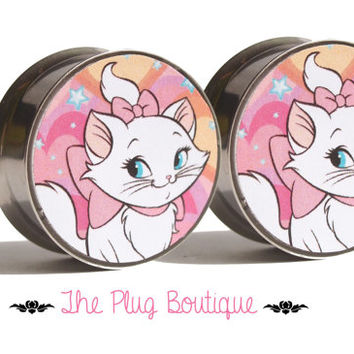 Marie Aristocats Plugs. 1 pair (2 plugs). Screw on or double flare. Sizes 8mm - 20mm. Made to order.