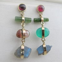stonework drop earrings with solid 14k gold, garnet, tourmaline and moonstone