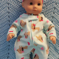 "Baby Doll Clothes to fit 15 inch baby doll ""Puppy Love"" doll outfit with sleeper and headband hair clip  C2"