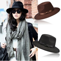 New Unisex Women Men Vintage Blower Jazz Hat Trilby Cap Fedora Style Hats  7_S (Color: Dark brown) = 1945978308