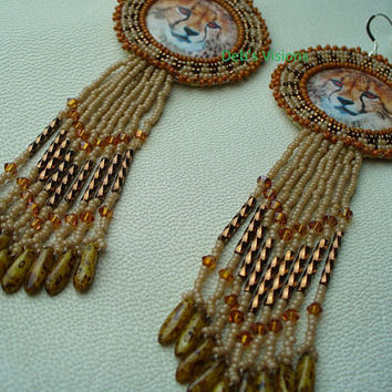 Native American Style Rosette Beaded Cheetah Earrings Gingerbread, Mocha and Bronze