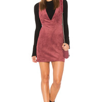 Endless Rose Suede Overall Dress in Maroon | REVOLVE