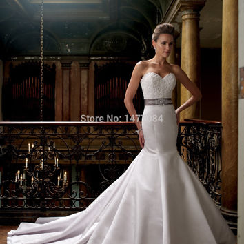 Cheap Beaded Satin Sash Wedding Dresses Mermaid Sweetheart Bridal Gowns With Long Train 2014 New Arrival