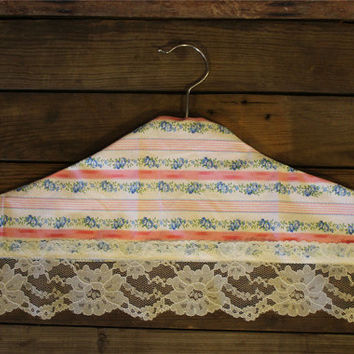 Hanger Cover- Shabby Chic- Handmade- Clothing Hanger- Garment Cover- Dust Cover- Cottage- Home Decor- Closet- Handmade- Lace- Floral