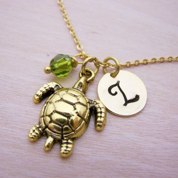 Sea Turtle Necklace - Gold Initial Necklace - Birthstone Necklace - Initial Disc Necklace - Personalized Necklace - Sea Turtle Charm