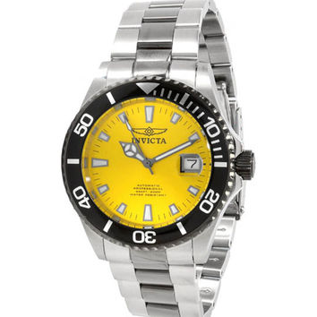 Invicta 10495 Men's Pro Diver Yellow Dial Stainless Steel Automatic Dive Watch