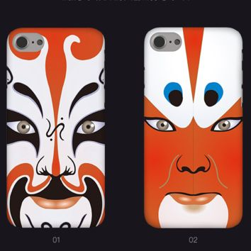 New Fahion Painting Beijing Opera Facial Masks Plastic Case Cover for Apple iPhone7 7plus 6 Plus 6 -05005