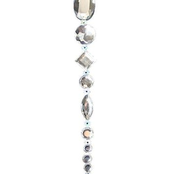 MDIGMS9 8' Beaded Jewel Clear Silver Icicle Drop Christmas Ornament