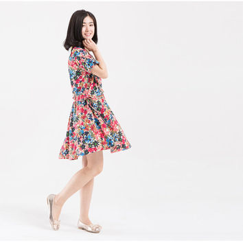 Floral dress, sundress, cotton dress, print dress, short women dress, loose dress, short sleeve round neck dress (ESR23)