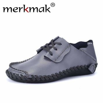 Merkmak Genuine Leather Men Shoes Boat Shoes for Men 2017 New Mens Loafers Shoes Casual Fashion Mens Falts Large Size 38-47