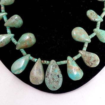 Estate Native American Turquoise Teardrops & Heishi Beads Necklace