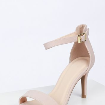 Classic Low Ankle Strap Heel Natural Nubuck