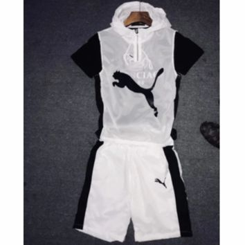 PUMA 2018 summer trendy men and women models wild hooded sleeveless + shorts two-piece F0483-1 White
