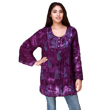 Outlaw Western Womens Long Sleeve Paisley Tunic With Sequins