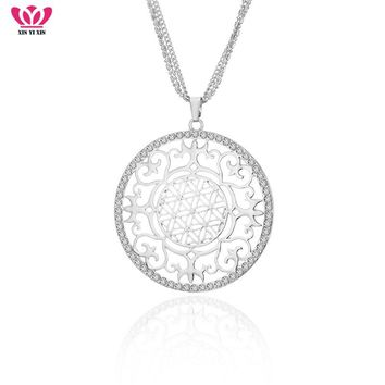 New Design Symbol Round Good Luck Crystal Long Necklace & Pendant Silver Hollow Flower Love Forever Women Jewelry For Her Gift