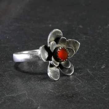 Red coral and sterling silver flower cocktail ring