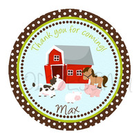 Farm barnyard sticker Cupcake Topper, Tags, great for birthday partys. Digital file