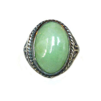 Jade Sterling Ring, Chinese Export, Silver Filigree, Celadon Green, Jadeite, Vintage Jewelry