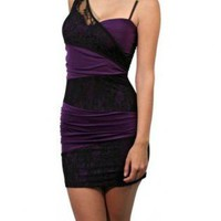 Purple Fitted Strappy Dress with Black Contrast Lace Detail