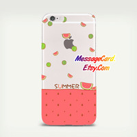 Watermelon Clear Phone Case Cover for iPhone 6 6s plus , 6 6s , 5s 5 , 4s 4 , Pressed Clear iPhone 6 6s Case , Custom Clear iPhone 6 6s Case