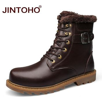 Winter Warm Snow Men Shoes Genuine Leather Men Boots Mid-Calf Rubber Male Boots Genuine Fashion Fur Winter Boots