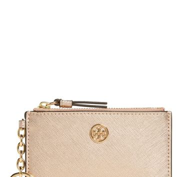 Tory Burch Robinson Metallic Leather Card Case with Key Chain | Nordstrom