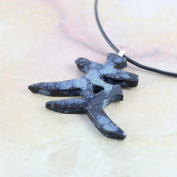 Japanese Symbol for Friendship Necklace - Handmade Ceramic Necklace - Zen Jewelry - Rustic Pendant