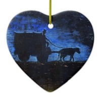 Carriage at sunset ceramic ornament