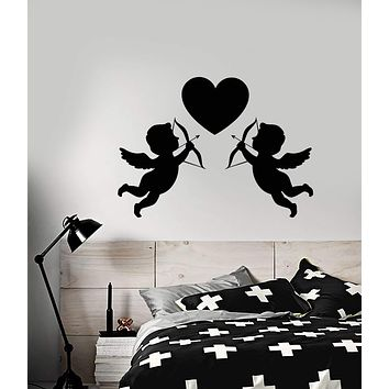 Vinyl Wall Decal Love Heart Symbol Cupids With Bow Wedding Salon Stickers (2805ig)
