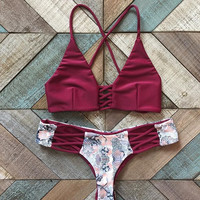 Print Crisscross Hollow Bikini Set Swimsuit Swimwear