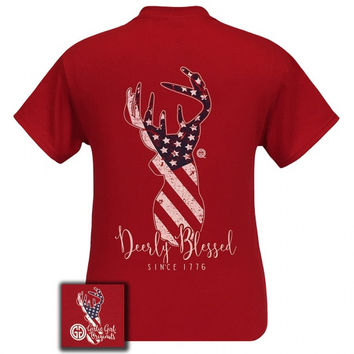 Girlie Girl Originals Preppy Deerly Blessed USA Deer Country T-Shirt