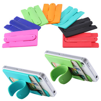 Universal Mini Touch U Shape Silicone Smartphone Stand Holder For iPhone Samsung LG Sony HTC Huawei With Card Slot Accessories