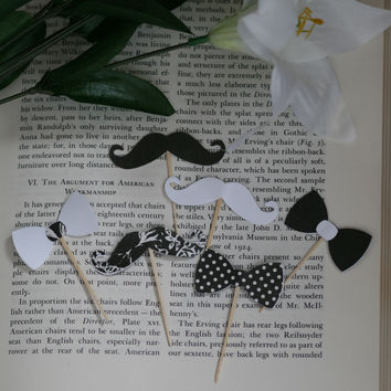 24 Pieces Black and White Mustache and Bow Tie Cupcake Toppers Picks for Birthday Decorations DIY Party Supplies