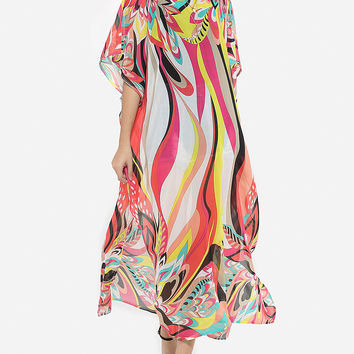 Casual Batwing Loose Fitting Chiffon Assorted Colors Maxi Dress