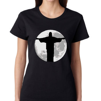Women's T Shirt Moon Jesus T Shirt Cool Stuff Love Jesus
