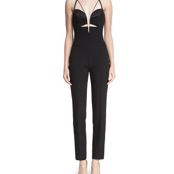 Thierry Mugler Plunging T-Back Crepe Jumpsuit